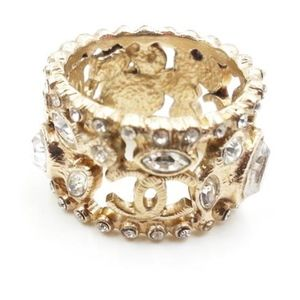 CHANEL Gold CC Marquise Crystal Wide Ring Size 6
